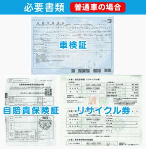 必要な書類(普通車の場合)車検証、自賠責保険証、リサイクル券