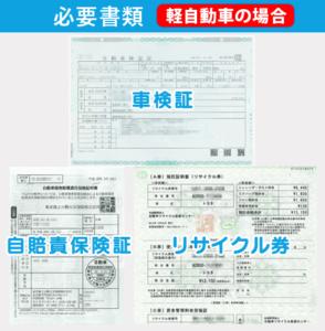 必要な書類(軽自動車の場合)車検証、自賠責保険証、リサイクル券