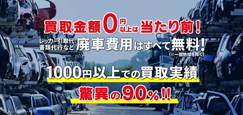 買取金額0円以上は当たり前!レッカー引取り代・書類代行など廃車費用はすべて無料!1000円以上での買取実績驚異の99.5%