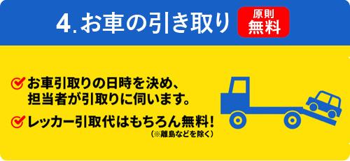 4.お車の引き取り【原則無料】お車引取りの日時を決め担当者が引取りに伺います レッカー引取代はもちろん無料